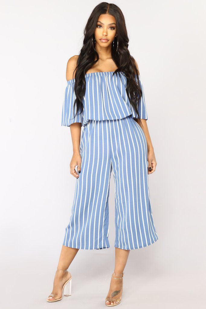 5b06f7898c0a Salt Water Stripe Jumpsuit - Light Blue White