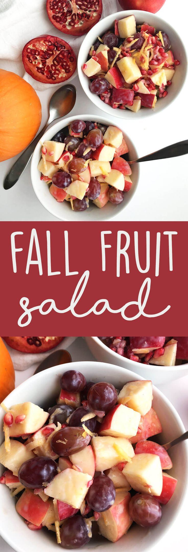 Healthy Fall Fruit Salad: Apples, pomegranate arils, grapes, and shredded pumpkin come together with a delicious creamy dressing to make a fall-inspired, healthy vegan salad. | thecrunchychronicles.com