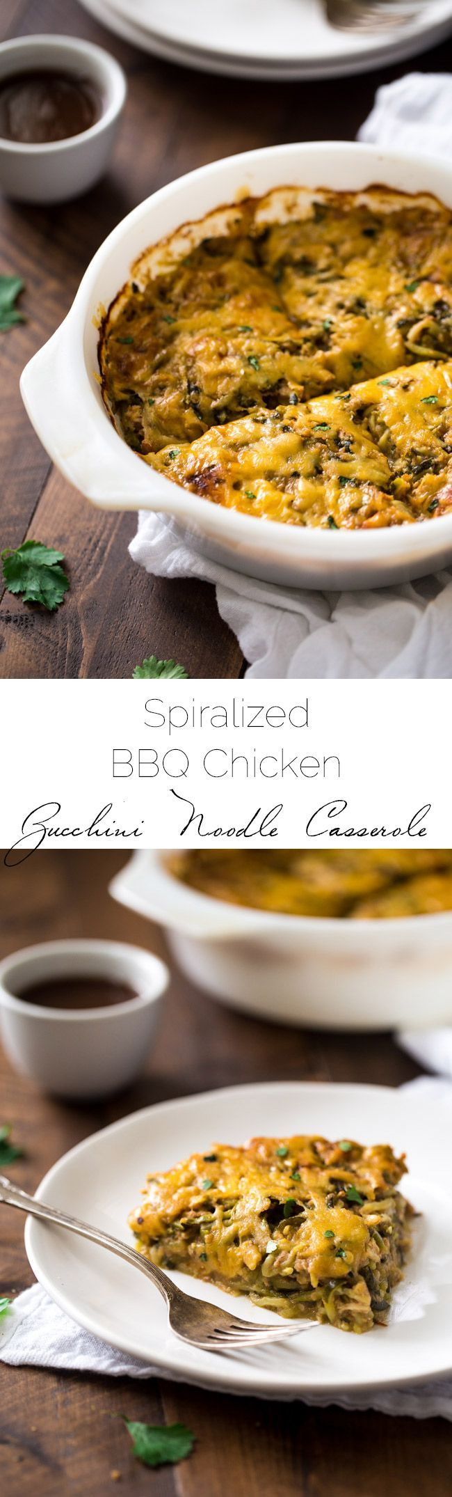 BBQ Chicken Casserole with Zucchini Noodles - low carb, grain free and super healthy with zucchini noodles! It's a protein packed, weeknight meal that the family will love!