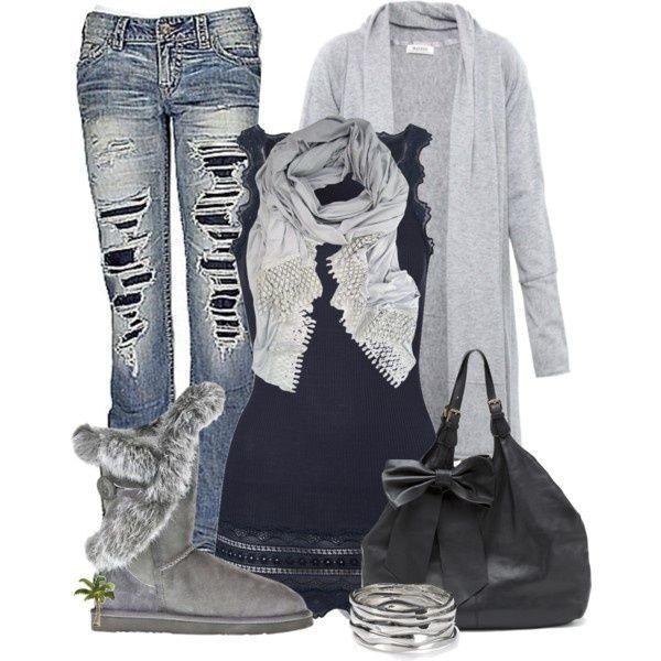 28 Trendy Polyvore Outfits Fall/Winter. Maybe the jeans are a bit too ripped up for me...