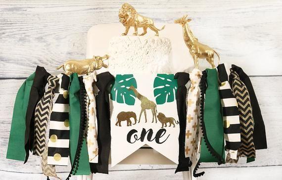Fabric Banner, Giraffe Safari Jungle Zoo 1st Birthday High Chair Banner