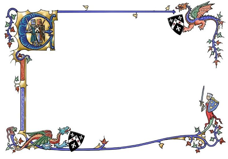 Medieval border with dragons by dashinvaine.deviantart.com on @deviantART