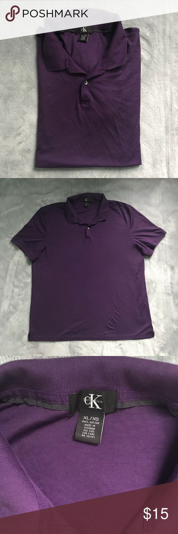 Calvin Klein XL Purple Polo Shirt Calvin Klein Purple Polo Shirt In Size XL Has only been used once, its in great conditions, 100% cotton, very soft. It has an extra button on the care label. Feel free to ask me any questions you might have! Calvin Klein Shirts Polos