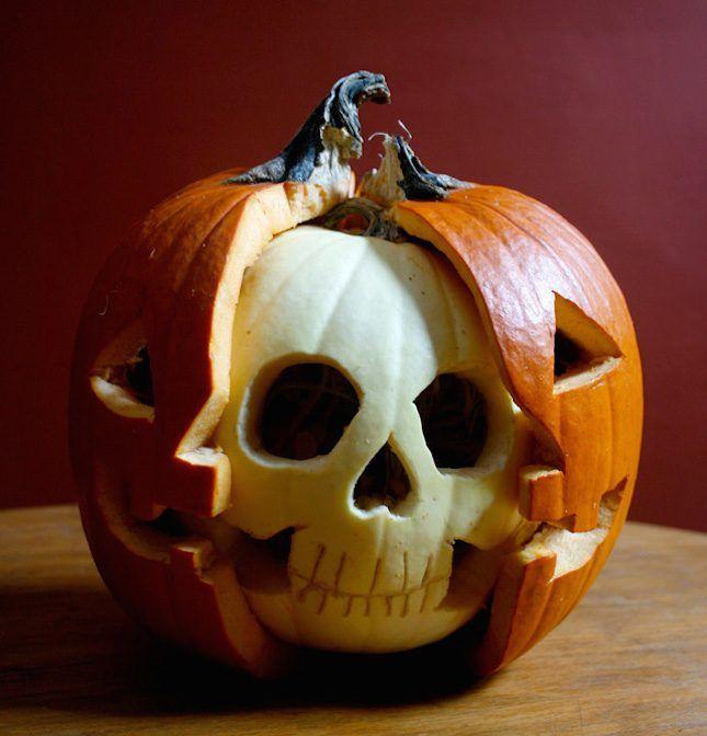 Go extra creepy with a pumpkin anatomy Halloween display.