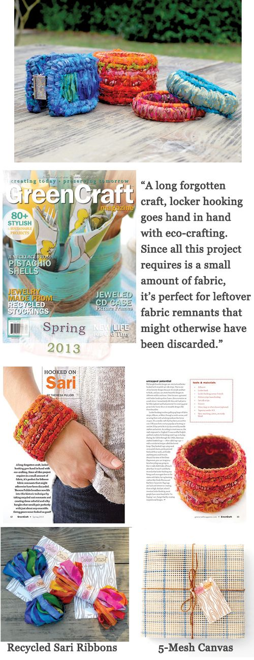 """""""Hooked on Sari"""" Article in """"GreenCraft"""" Magazine Covers Locker Hooking Bangle Bracelets with Recycled Sari Fabric."""