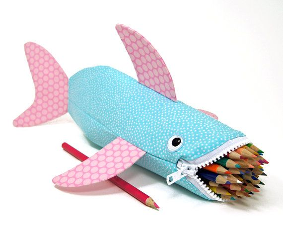 Shark Bag by MinneBites / Beach Bubbles Shark Bite - Pencil Pouch Case - Blue and Pink Fish Bag - Cute Animal Bag - Personalized Bag