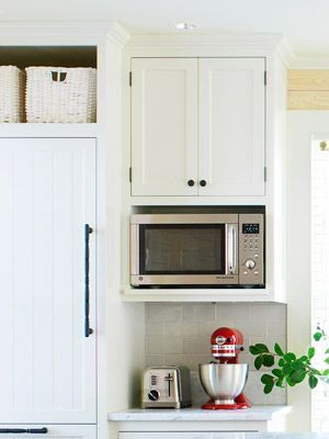 microwave shelf: high enough for taller appliances underneath (a door to hide them all?)