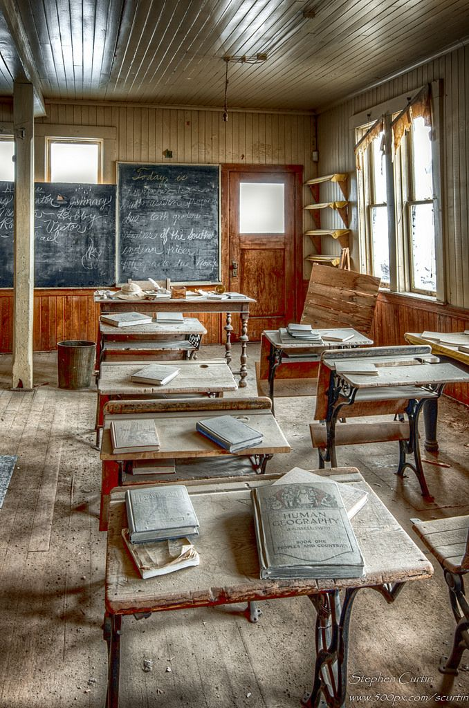 The interior of the school house in Bodie, California.