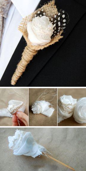 Wedding Boutonniere with Feathers | Click for 18 DIY Rustic Wedding Ideas on a Budget | DIY Rustic Wedding Decor Ideas