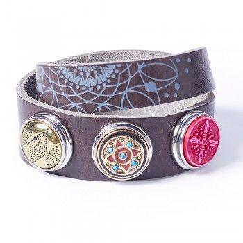 Noosa Armband Divali/ Weihnachten Print double wrap braun
