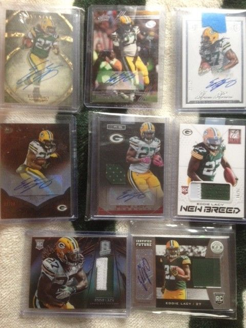 Eddie Lacy auto and memorabilia card lot - Five Star, Flawless, and more!
