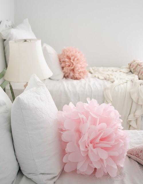 DIY pom poms via Dreamy WhitesGuest Room, Dreamy White, Little Girls, Pom Poms, Pompom, Tissue Paper Flower, Girls Bedrooms, Girls Room, Girl Rooms