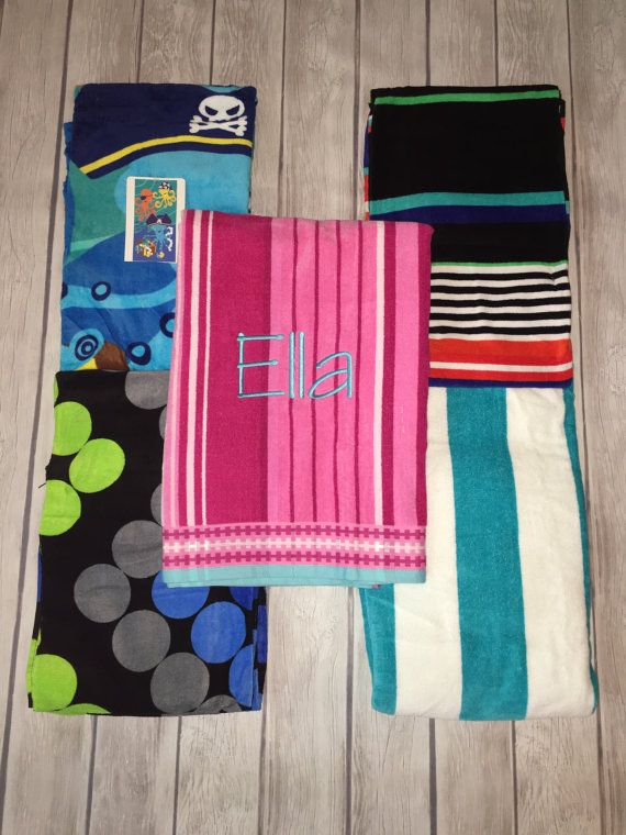 monogrammed beach towels custom design with your name or initials 7 patterns for men women and children - Monogrammed Beach Towels