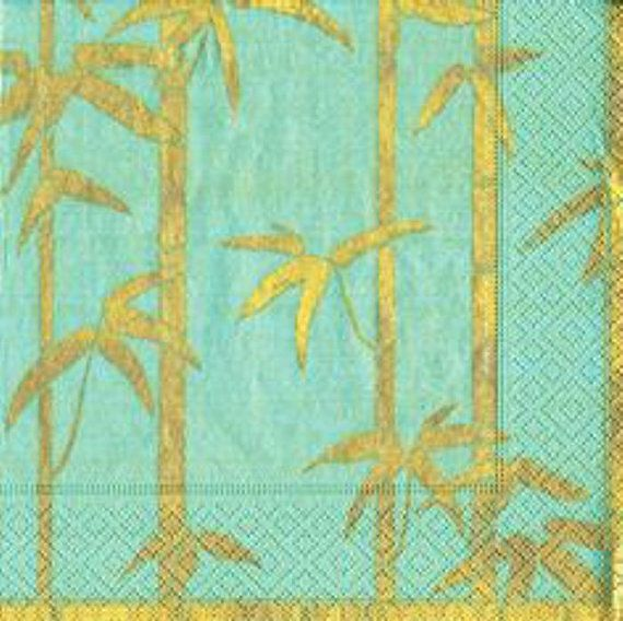 Mint and Gold Ink Beverage Napkin 3ply-pack of 20