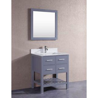 Belvedere Grey 30-inch Bathroom Vanity with Marble Top | Overstock.com Shopping - The Best Deals on Bathroom Vanities