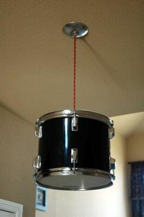 trommel als deckenlampe verwenden - originelle basteltipps für designer lampen - Lampe selber machen – 30 einmalige Ideen (Cool Bedrooms Creative)