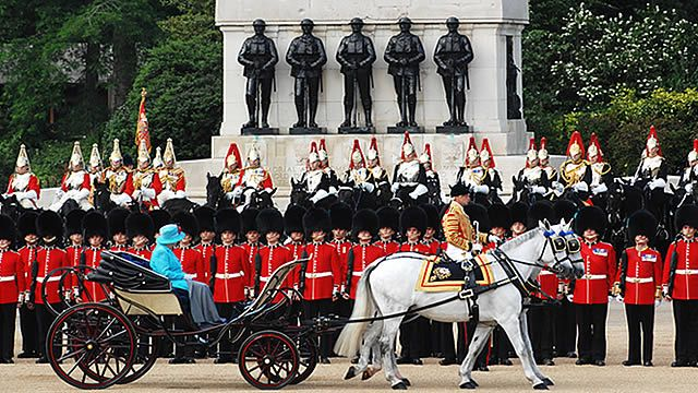 London celebrates The Queen's official birthday in June each year with Trooping the Colour, a fantastic military parade.