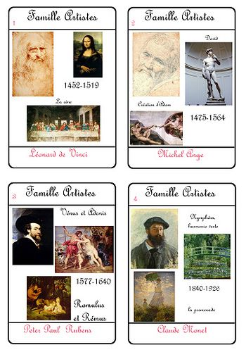 Bonne idée : le Jeu des 7 familles pour enseigner les arts, la littérature... Sans en avoir l'air ;-)
