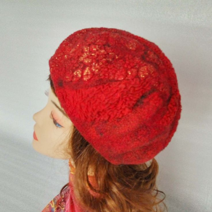 Felt hat, Women felt hat, felt beret, wool beret, wool cap, beret for winter hat for winter, warm beret, warm hat, red beret, a red cap. by FeltEcoStyle on Etsy