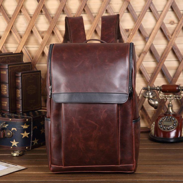 2017 Men Leather Backpack High Quality Youth Travel Rucksack School Book Bag Male Laptop Business bagpack mochila Shoulder Bag #Affiliate