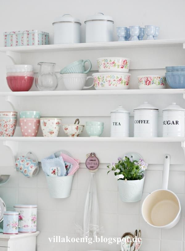 Kitchen Styling: A cute, pretty look for a cottage style kitchen. Use pastels and white for a similar effect. GreenGate