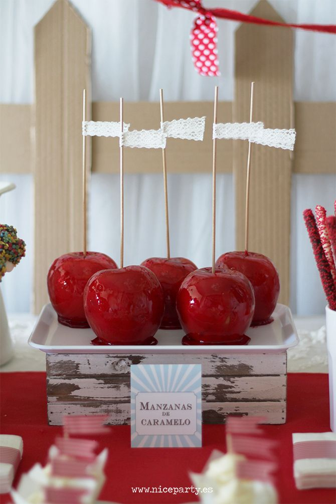 Nice Party cumpleaños Mary Poppins mesa de dulces manzanas de caramelo