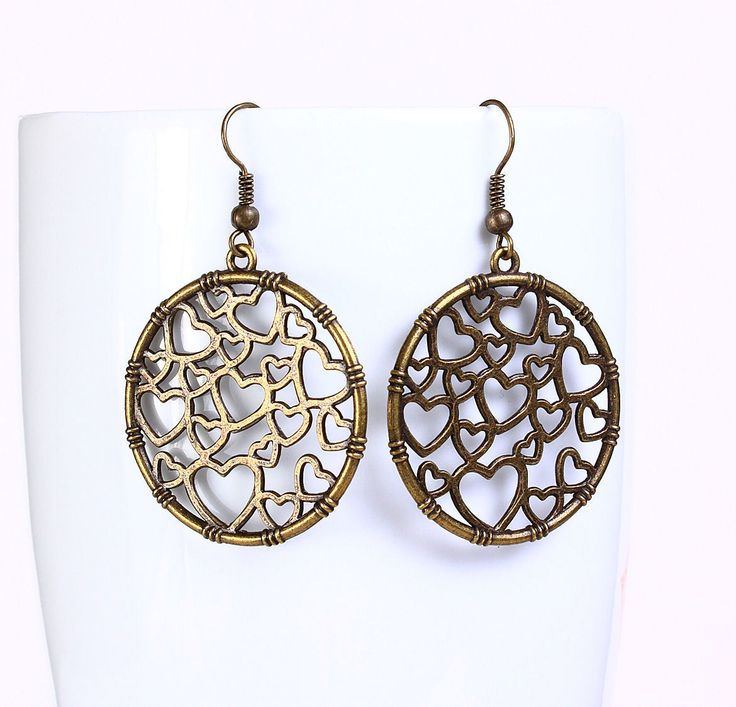 Khalliah Design - Round filigree heart dangle earrings - antique brass, $18.00 (http://www.khalliahdesign.com/round-filigree-heart-dangle-earrings-antique-brass/)
