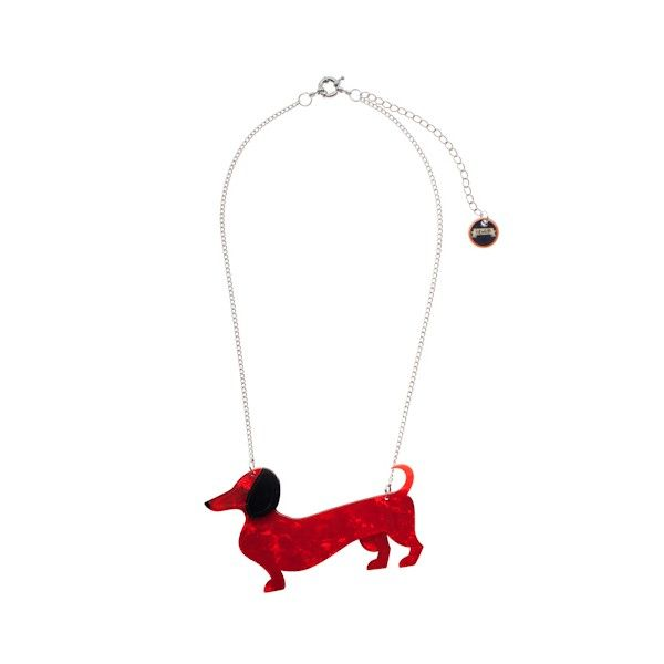 """Spiffy the Sausage Dog"" Necklace ($26.21) http://aslanandleo.com/?product=spiffy-the-sausage-dog-red-resin-necklace by Erstwilder from the #Retro range."