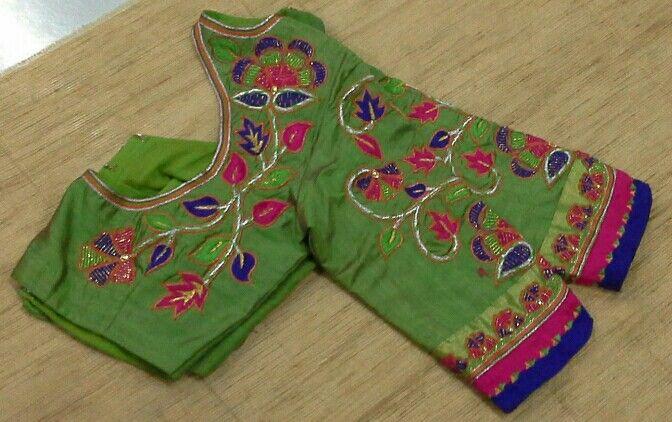 Chandheri blouse with maggam work 91 9866583602 whatsapp no 7702919644