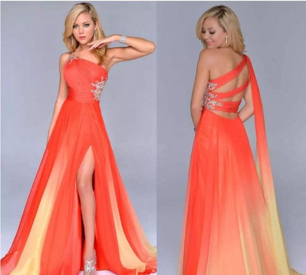 Cheap Gradient Ombre Prom Dresses Orange Chiffon Side Split Evening Formal Gown One Shoulder Party Dress Criss Cross Straps Back Beautiful As Low As $77.39, Also Buy Cinderella Prom Dress Clearance Prom Dresses From Ivydress  Dhgate Mobile