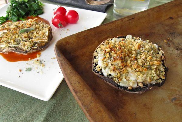 Portobello with nuts and cheese