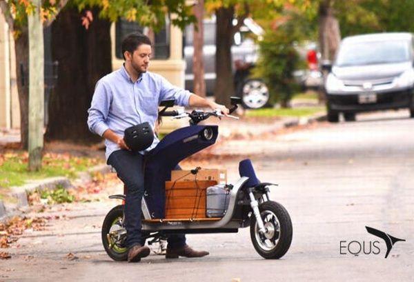 ハンドルと前輪が離れている電動バイク「EQUS」 - えん乗り