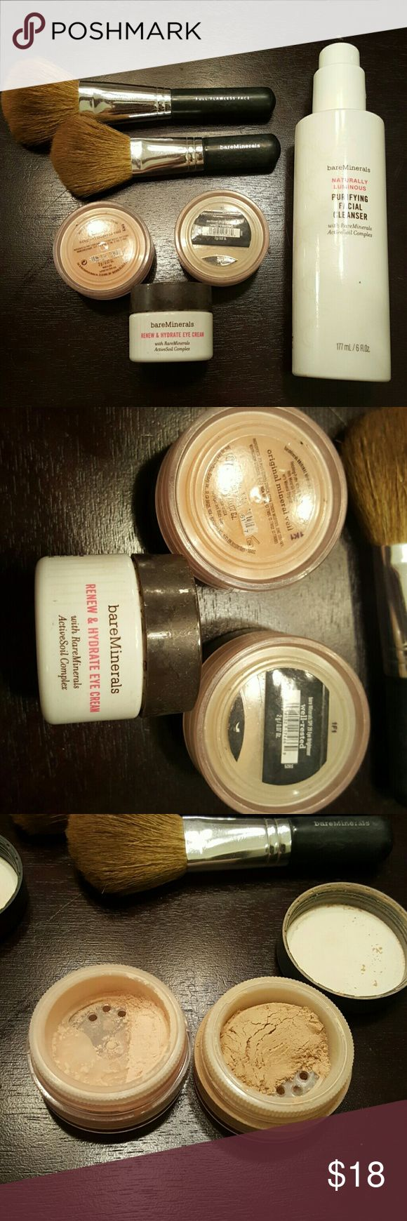 Bare Minerals Set Bought it, tried it, ditched it for full coverage makeup.  Still a great product, but didn't match my style.  About 2/3 left in containers, all disinfected Makeup
