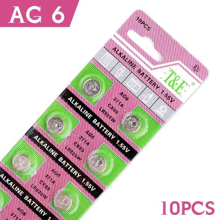 用おもちゃ時計電池10ピース/カードag6アルカリ電池SG6 SR69 LR920SW v371 LR921コインボタン電池