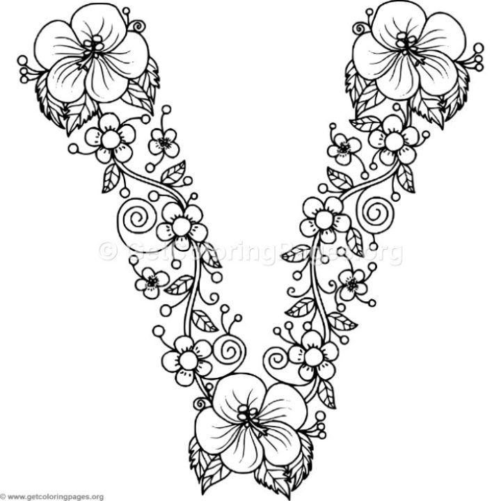Floral Alphabet Coloring Pages Getcoloringpages Org Coloring