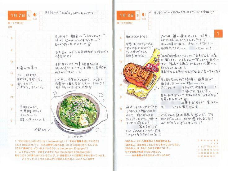 「ほぼ日手帳公式ガイドブックで取材させていただいた上田さん。すてきな絵と丁寧な文字で構成された、手帳のページがとっても魅力的で!それで、お願いして、ときどき、見せてもらうことにしました。