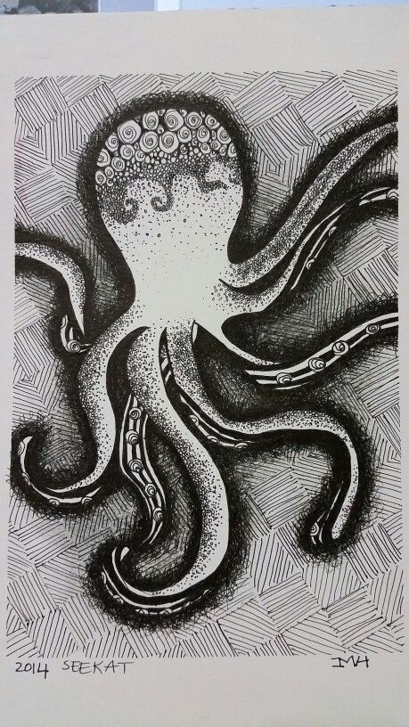 Zentangle sea creature octupus
