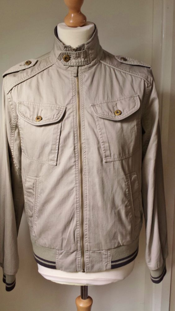 Topman Jacket Military Bomber Harrington Size M Mens Stone Spend £20Get25%Off!