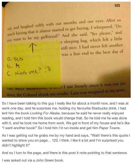 Here's How To Ask Someone Out Using A John Green Book   This person got asked out with a John Green book!