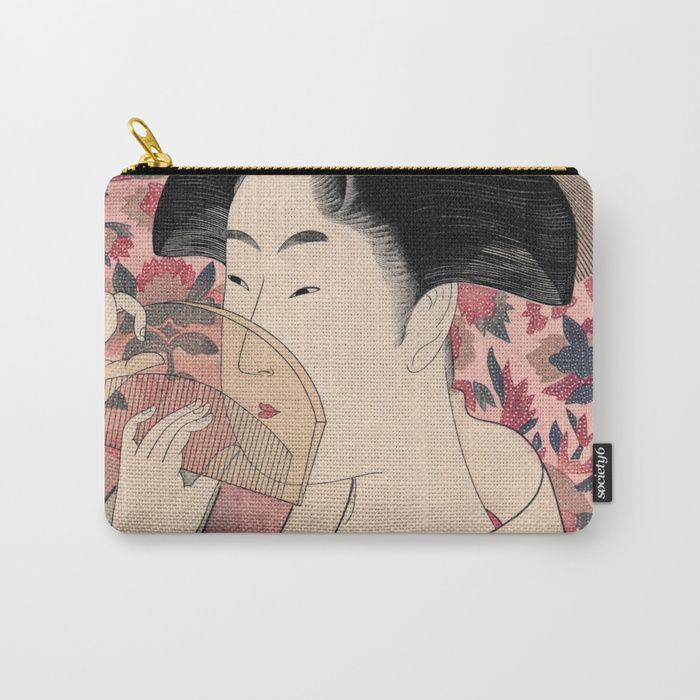 """Buy Japanese Woman Holding a Comb, Kushi by Kitagawa Utamaro Carry-All Pouch by vintage_archive. Worldwide shipping available at Society6.com. Just one of millions of high quality products available.    woman, comb, portrait, oriental, japanese, japan, vintage, asian, kushi, """"kitagawa utamaro"""", asia, woodcut, people, illustration,"""