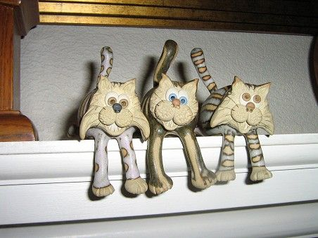 Collectable Miniature Shelf cat   hand-made pottery from Muggins Pottery in Leicestershire - wedding gifts, birthday presents, christening presents and anniversary gifts.