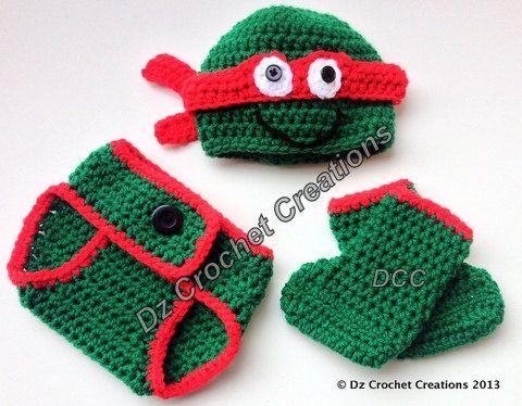Crochet Ninja Turtle Photo Prop Diaper Cover Set by HandMadeByDz, $22.00