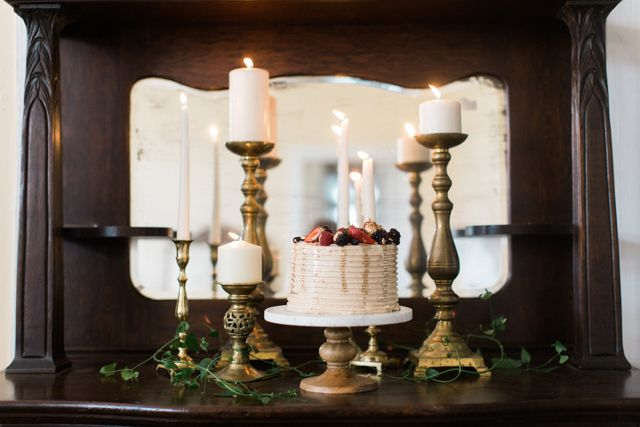 Cake display with candles | Kristina Ross Photography