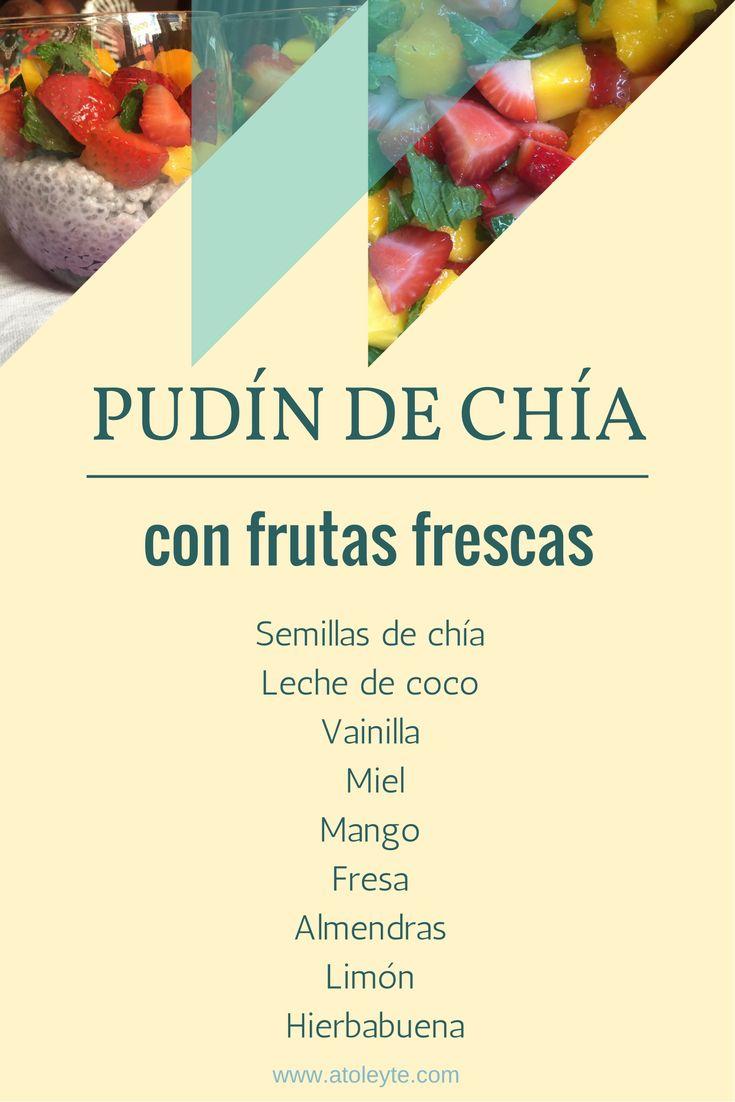 Receta de pastelería fácil: pudín de chía con frutas frescas, fresa, mango. ¡También es un desayuno práctico súper fácil!