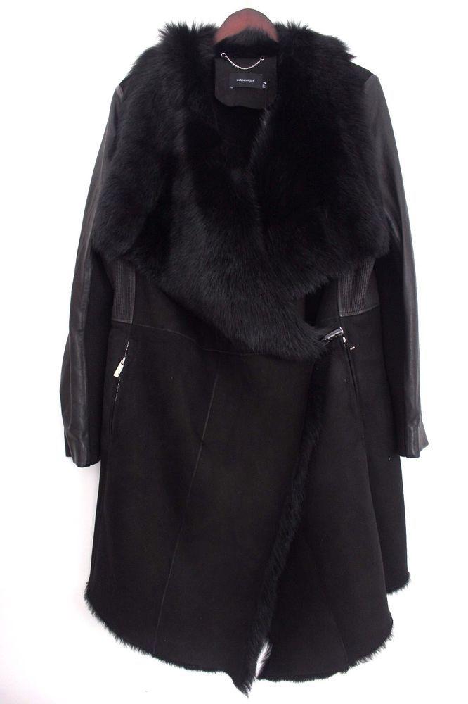 84a6e513088 Karen Millen CT057 Draped Shearling Wrap Leather Winter Fur Jacket Coat 16  44 #KarenMillen #TrenchCoatsMacs #Outdoor