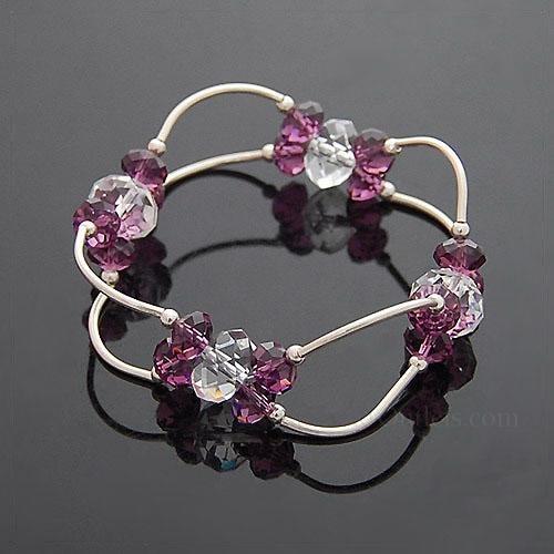 Bracelets Orchid Tenderness-Double Bents Swarovski Bracelets