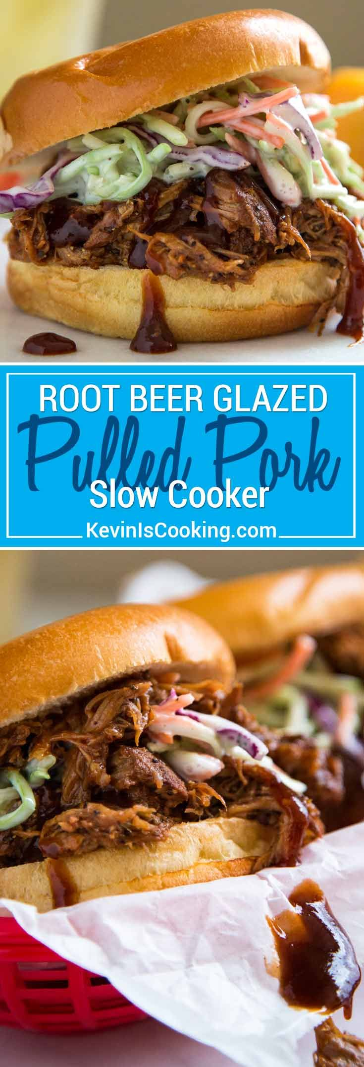 This Root Beer Glazed Slow Cooker Pulled Pork is juicy, tender and sticky sweet with a bite, and gets a dose of reduced root beer for an extra flavor punch!  via @keviniscooking
