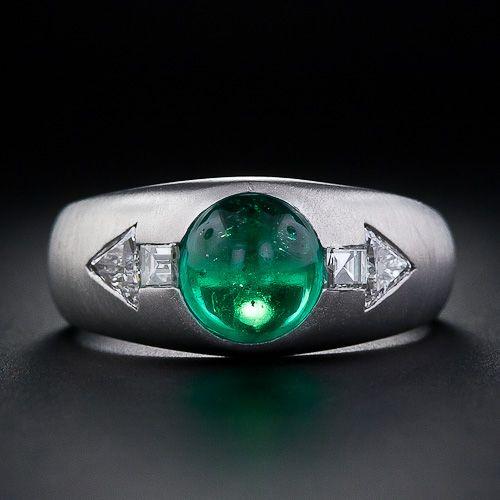 Art Deco Cabochon Emerald and Diamond Gents Ring - 30-1-4684 - Lang Antiques