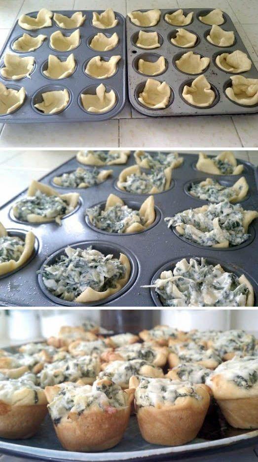 Spinach Artichoke Bites (yields 4 dozen bites) ■1 (8 oz.) package softened cream cheese (I used reduced fat) ■1/4 cup mayo ■1/2 cup grated parmesan cheese ■2 cloves garlic, peeled and minced ■1 (14 oz.) can artichoke hearts, drained and chopped ■1 cup frozen chopped spinach, thawed and drained ■2 tubes of crescent roll dough ■shredded mozzarella 375 10-12 min