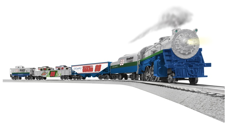 For more than 100 years, Lionel trains have been a part of holiday celebrations around the world, and now NASCAR fans can ride the rails with this new Dale Earnhardt Jr. Train! Each Ready-to-Run O-Gauge train is designed with driver and team graphics so fans can show their support of Dale Earnhardt Jr. The gondola car even holds two 1:64 scale No. 88 die-cast (included)! Available for order now at www.lionelnascar.com, the NASCAR Superstore or your local independent retailer.